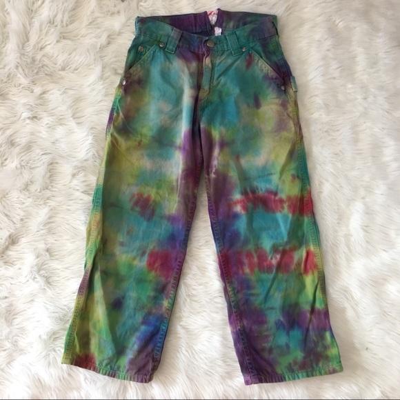 4dd69def Bottoms   Rainbow Boho Hippie Tie Dye Carpenter Kids Pants   Poshmark